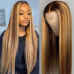 Piano Color Highlight #4/27 HD Highlight And Ombre Brown Honey Blonde Colored T Part Lace Front Wig Straight
