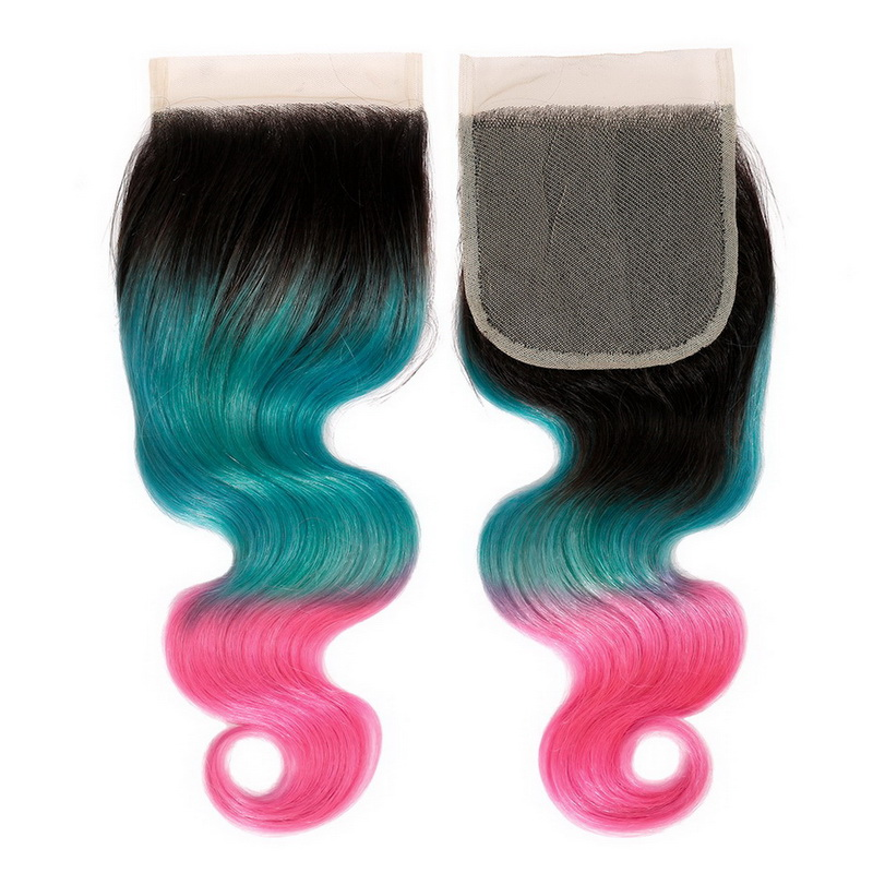 4x4 Lace Closure Ombre Ice Blue to Pink Body Wave Human hair