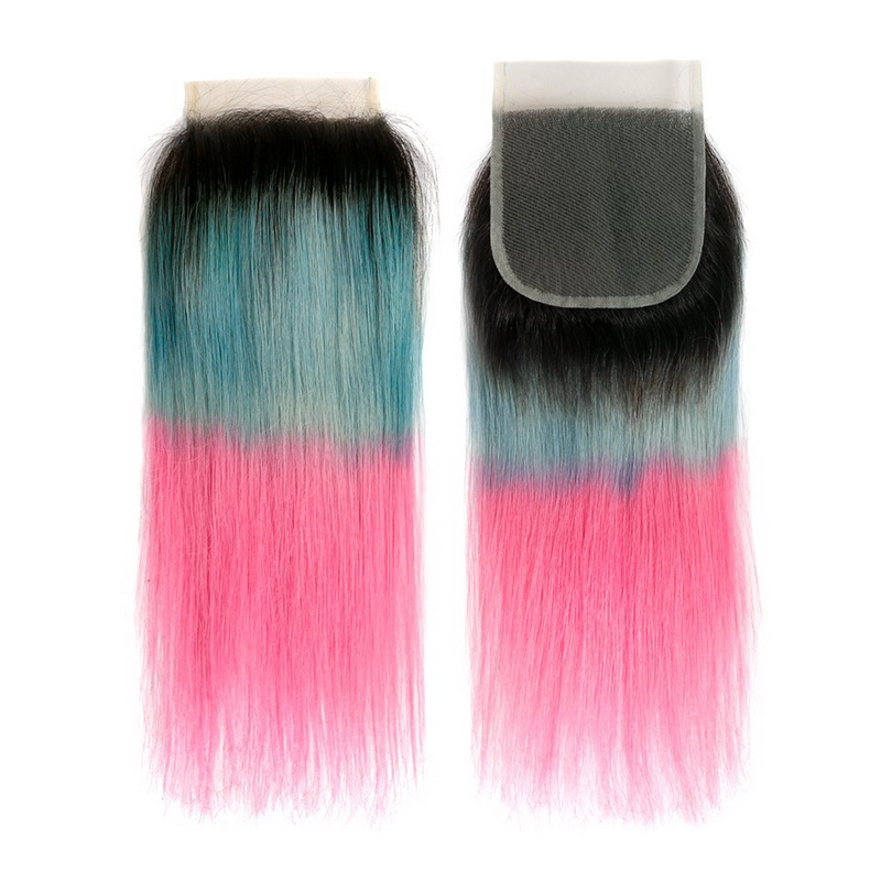 4x4 Lace Closure Ombre Ice Blue to Pink Straight Human hair