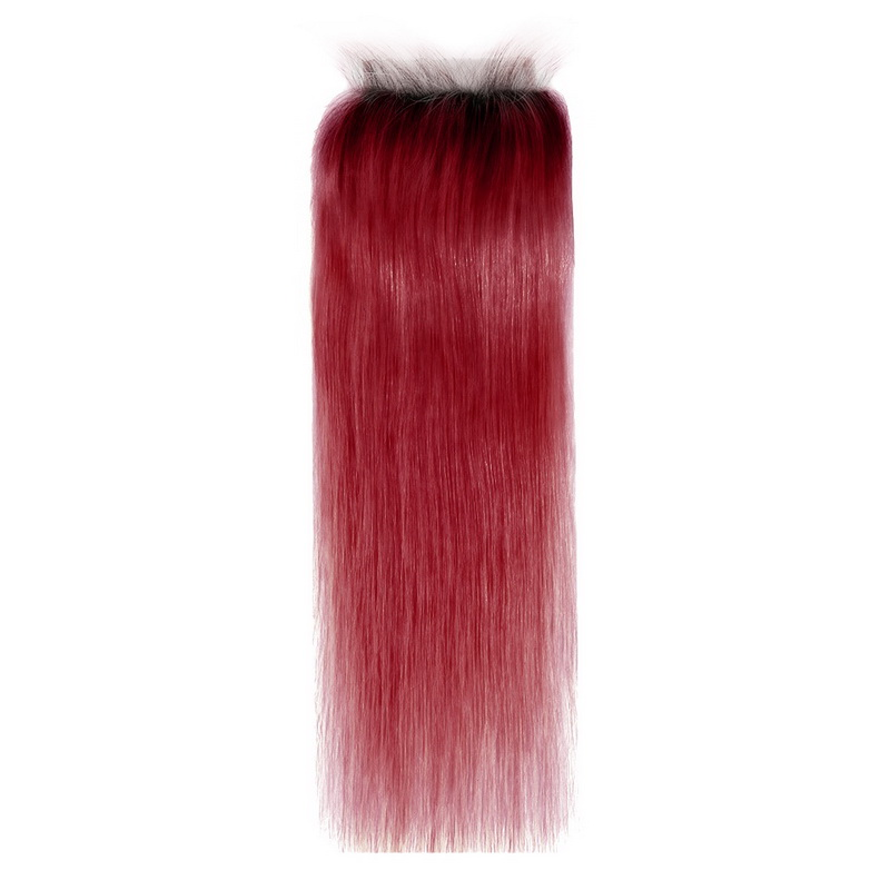 4x4 Lace Closure Ombre 1B/Red Straight Human hair