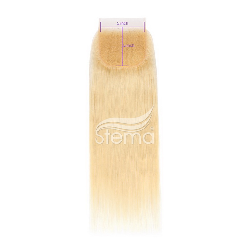 #613 blonde color 5x5 Lace Closure Virgin Hair Straight