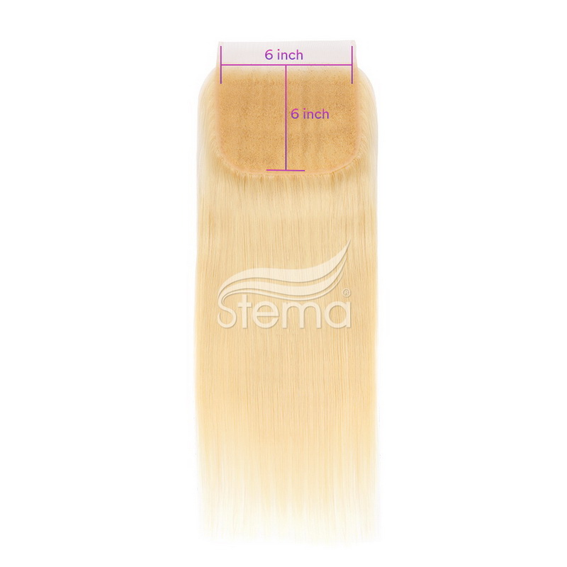 #613 blonde color 6x6 Lace Closure Virgin Hair Straight