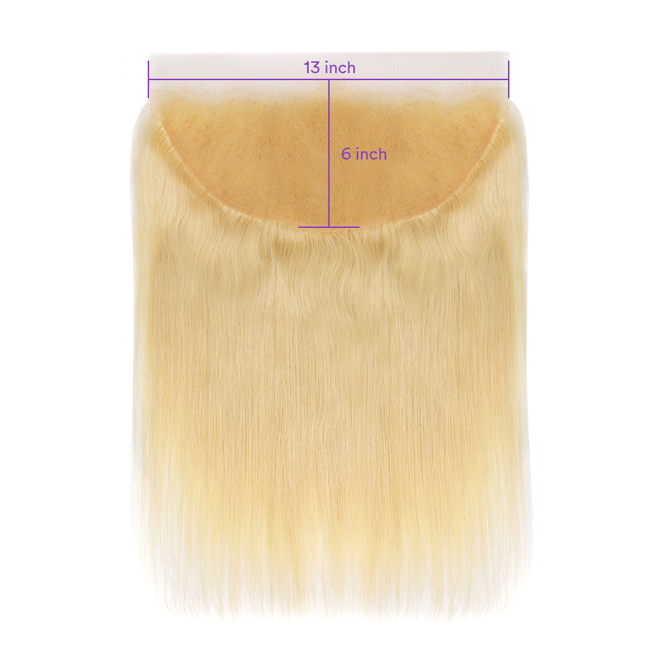 #613 blonde color 13x6 Lace Closure Virgin Hair Straight