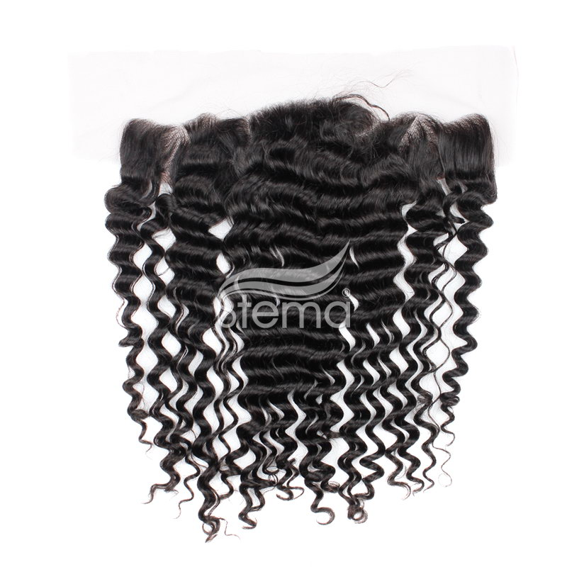 4x13 indian virgin hair deep wave lace frontal closure