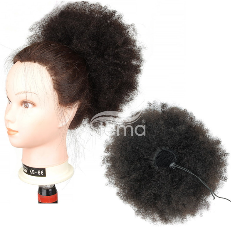 Clips in Human Hair extension Afro Kinky Curly With Drawstring Ponytail