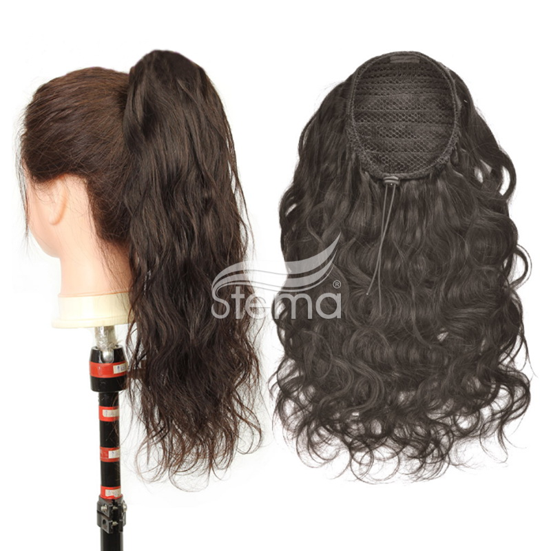 Clips in Human Hair extension Body Wave With Drawstring Ponytail