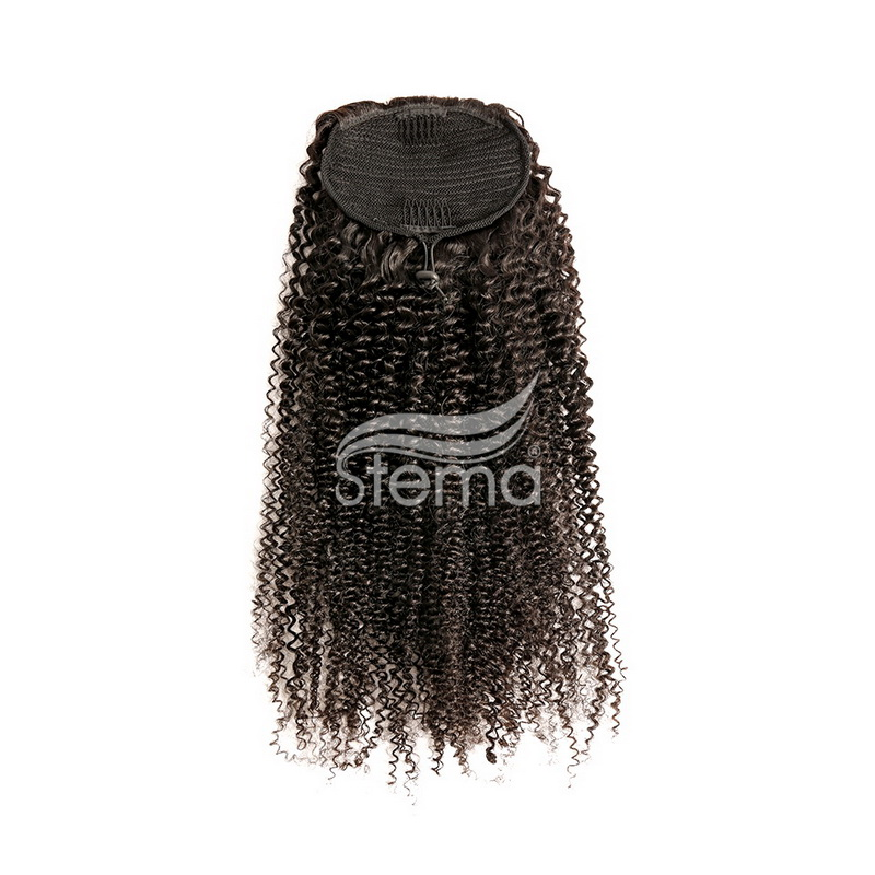 Clips in Human Hair extension Kinky Curly With Drawstring
