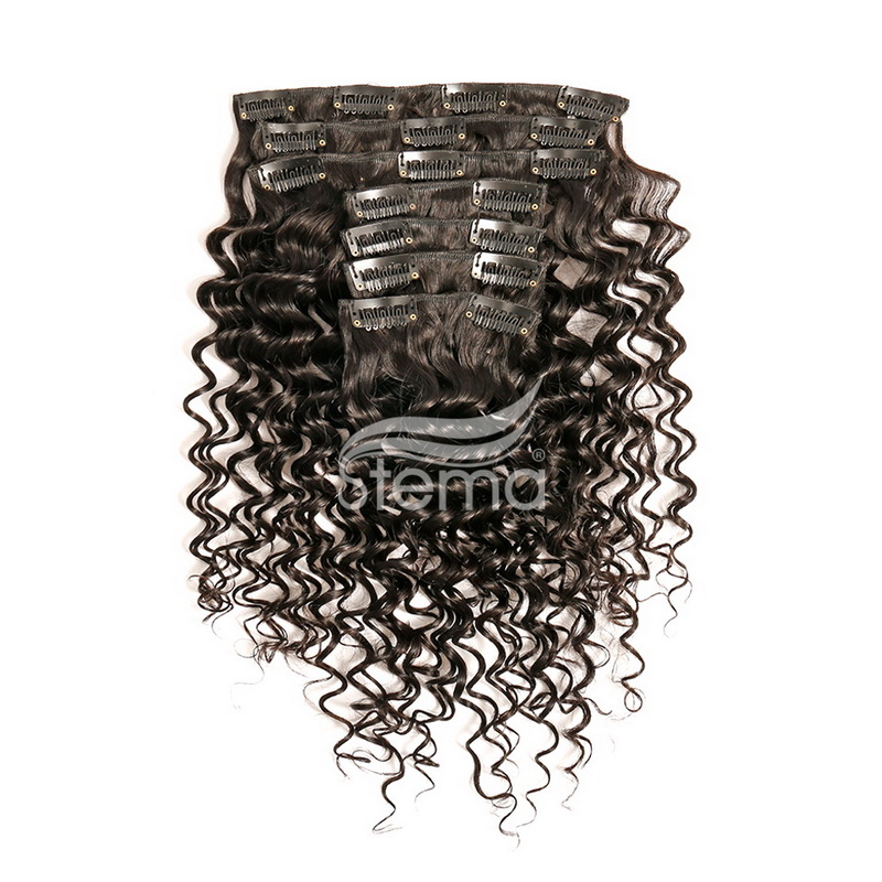 Clips in Human Hair extension Deep Wave (7 pcs/set)
