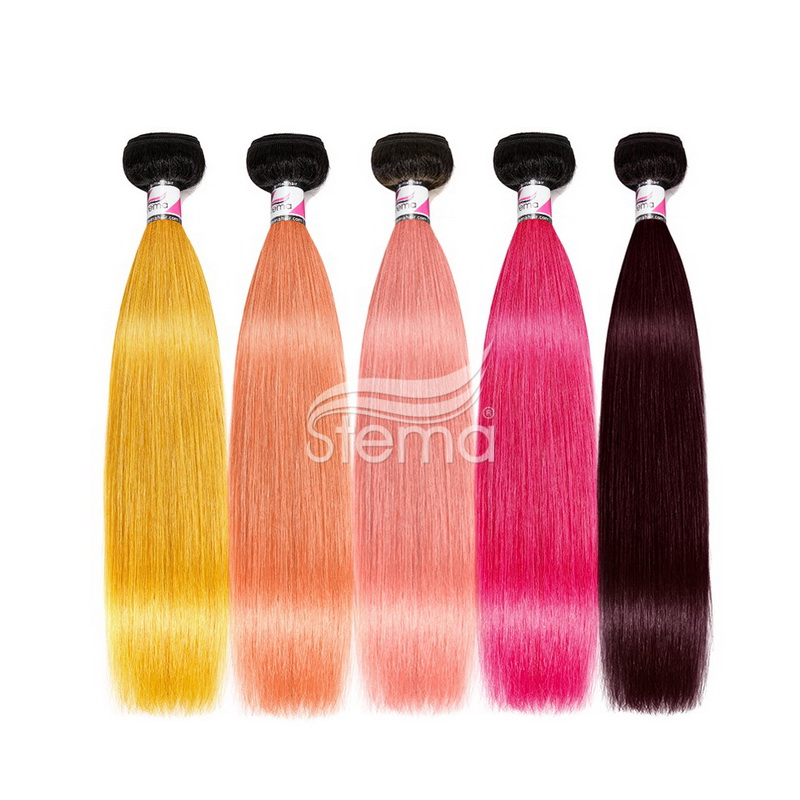 1B/Orange/Coral/Pink/Maroon (1:9)Ombre Colorful Hair Bundles