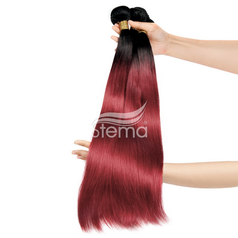 Ombre red hair weave black to fall red fashion color hair