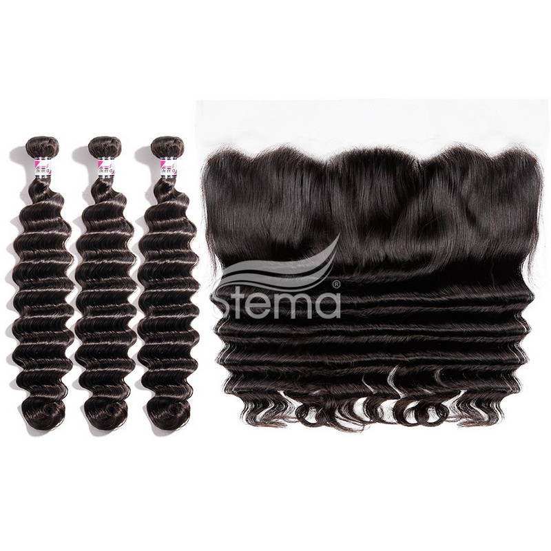 virgin hair Loose deep bundles with 13x4 lace frontal closure