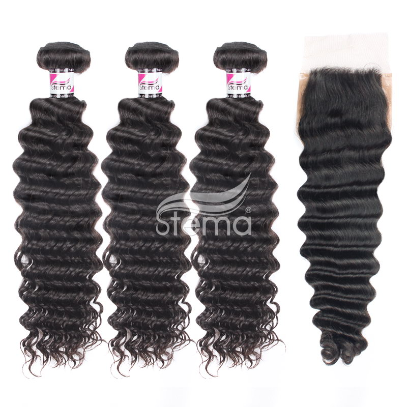 Brazilian Virgin Hair Deep Wave Bundles With 4X4 Silk Base Lace Closure