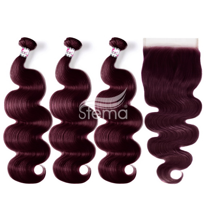 99J Body Wave Bundles With 4x4 Lace Closure Human Hair