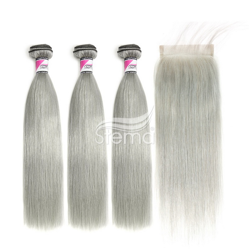 Grey/Silver Straight Bundles With 4x4 Lace Closure Human Hair