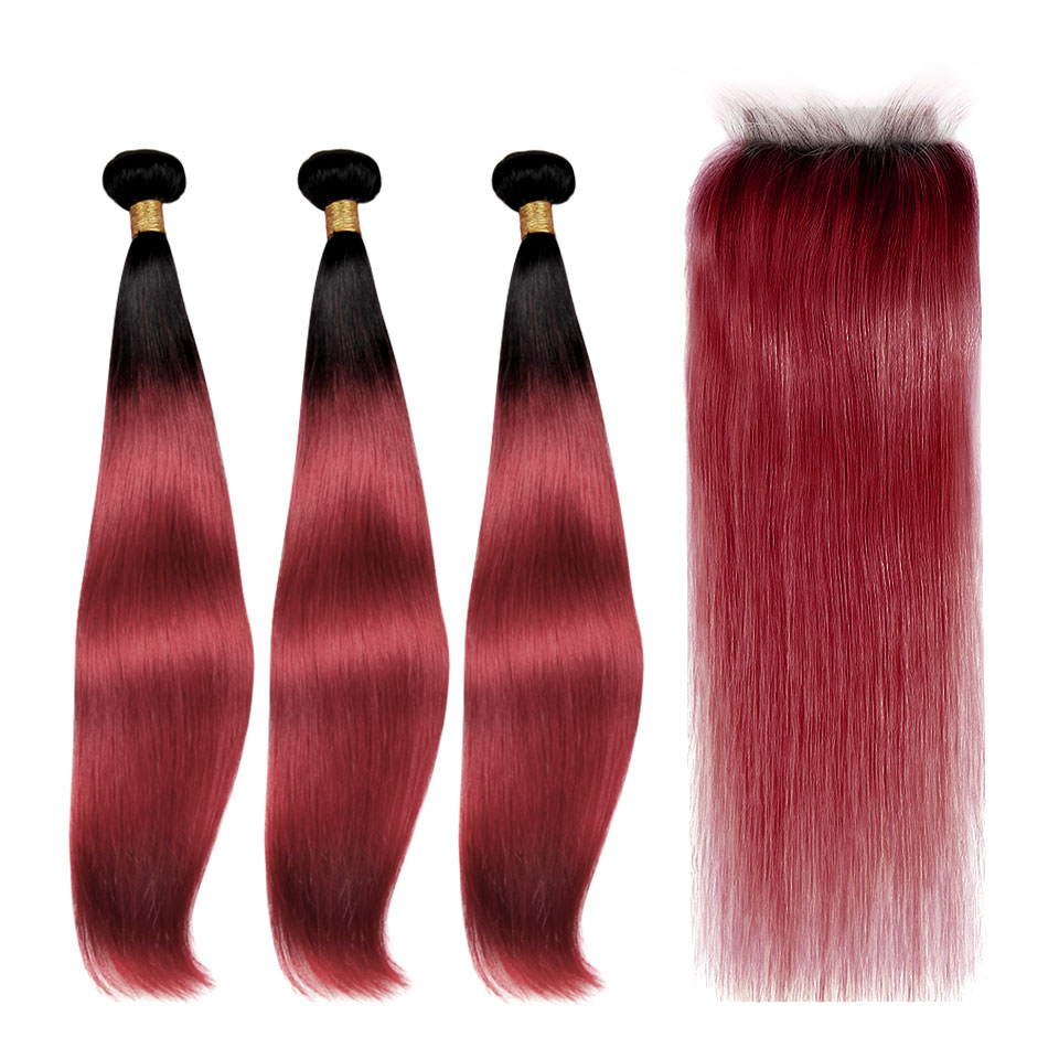 1B/Fall Red Straight Bundles With 4x4 Lace Closure Human Hair