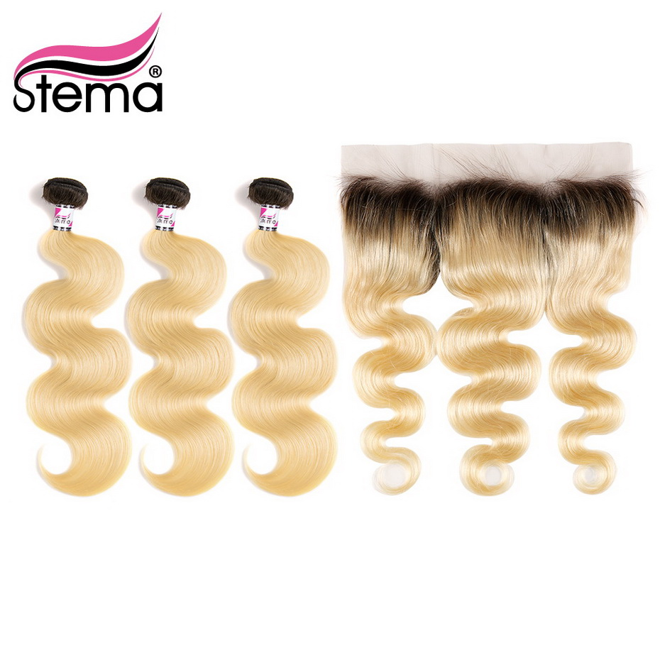 1B/613# Ombre Virgin Hair Bundles Body Wave With 4x13 Lace Frontal Closure