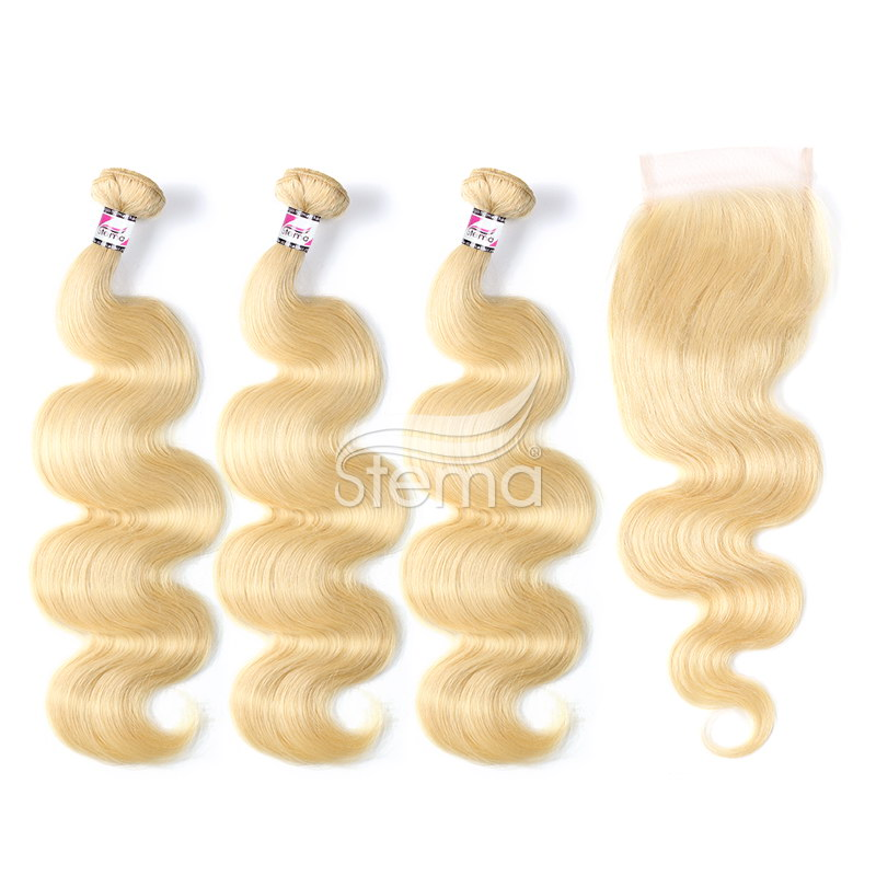 613# Virgin Hair Bundles Body Wave With 4x4 Lace Frontal Closure