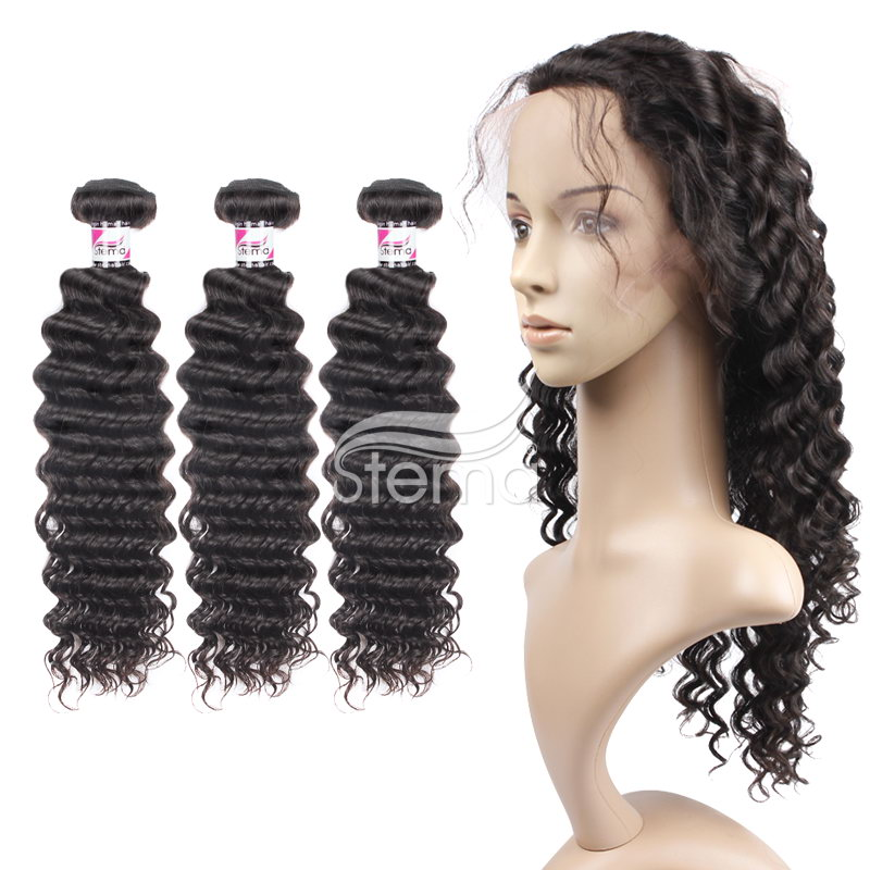 virgin indian hair deep wave bundles with 360 full lace frontal