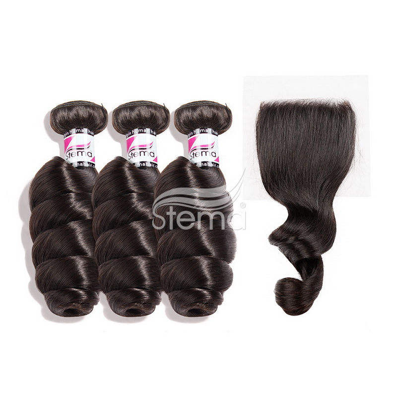 Indian Virgin Hair Loose Wave Bundles With 4X4 Lace Closure