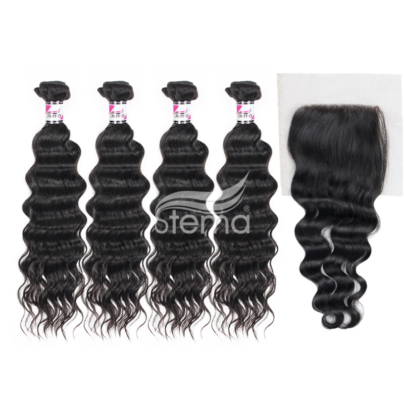 Indian Virgin Hair Natural Wave Bundles With 4X4 Lace Closure