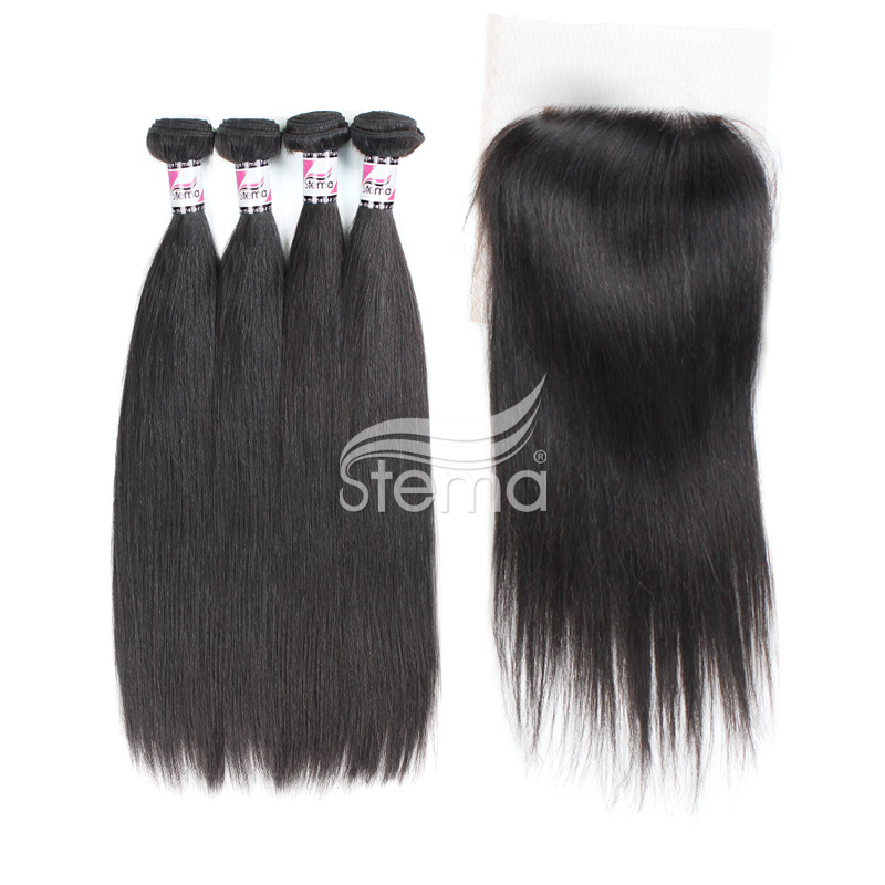 Indian Virgin Hair Straight Bundles With 4X4 Lace Closure