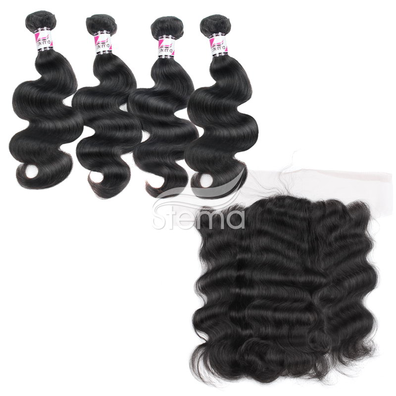 virgin malaysian hair body wave bundles with 4x13 lace frontal closure