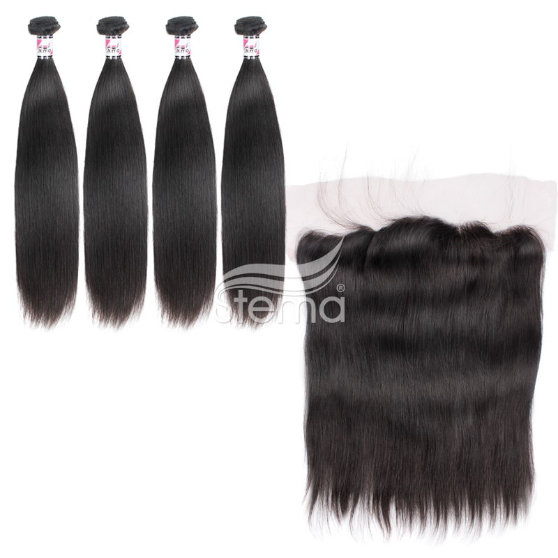 virgin malaysian hair straight bundles with 4x13 lace frontal closure
