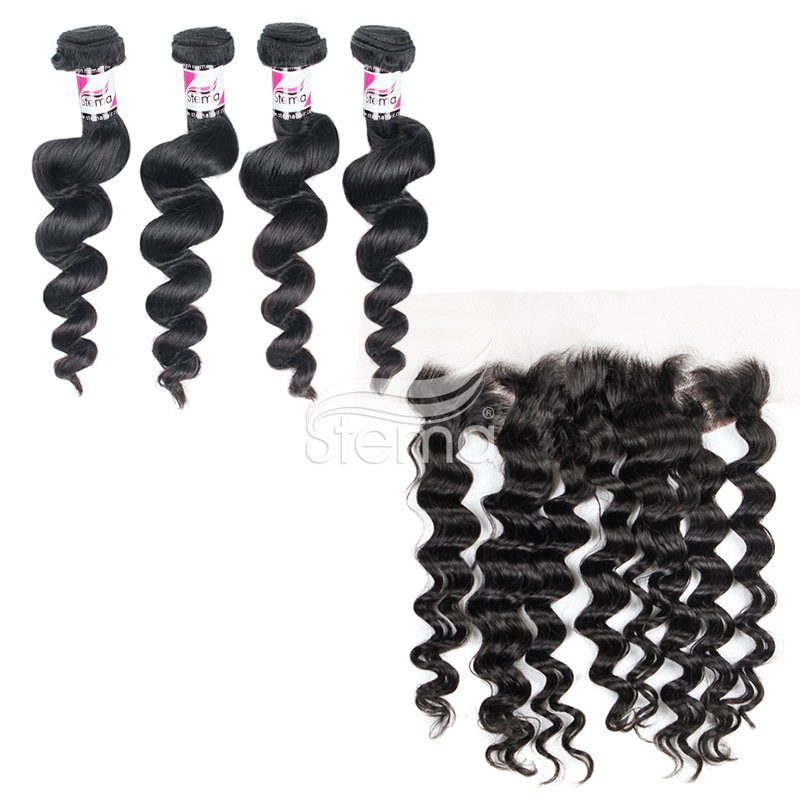 virgin peruvian hair loose wave bundles with 4x13 lace frontal closure