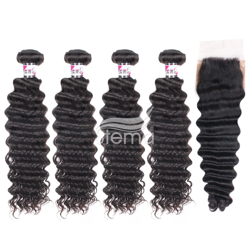 Peruvian Virgin Hair Deep Wave Bundles With 4X4 Silk Base Lace Closure