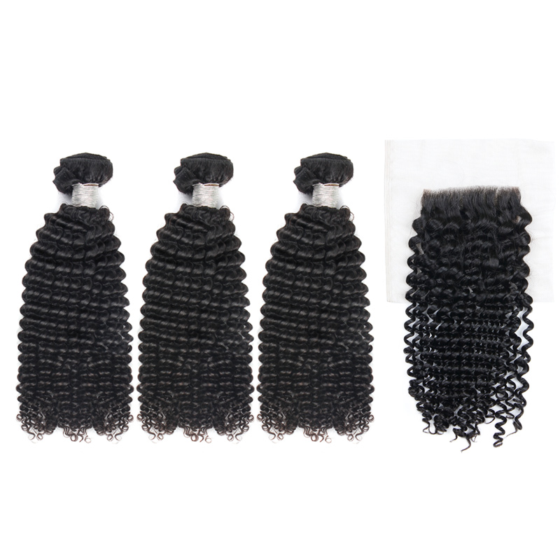 Virgin Hair Kinky Curl Bundles With Lace Closure