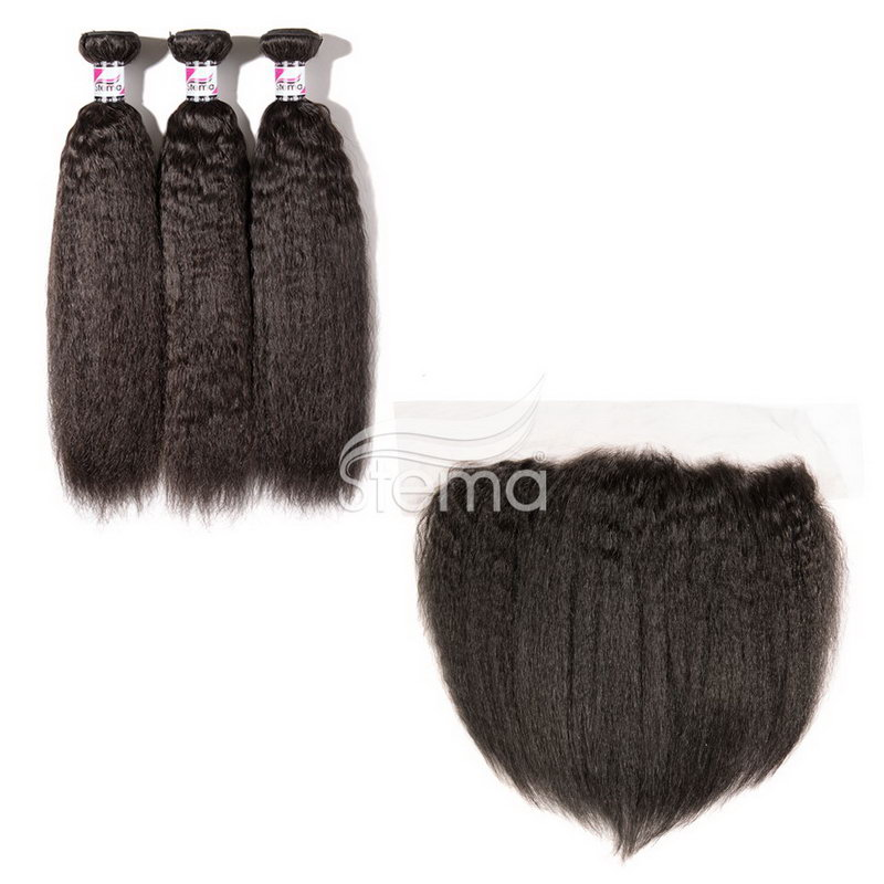 virgin hair kinky straight bundles with 4x13 lace frontal closure