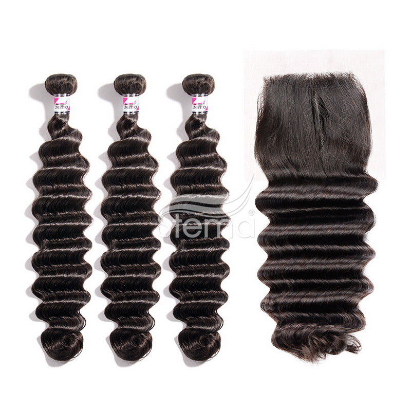 Virgin Hair Loose Deep Bundles With 4X4 Lace Closure