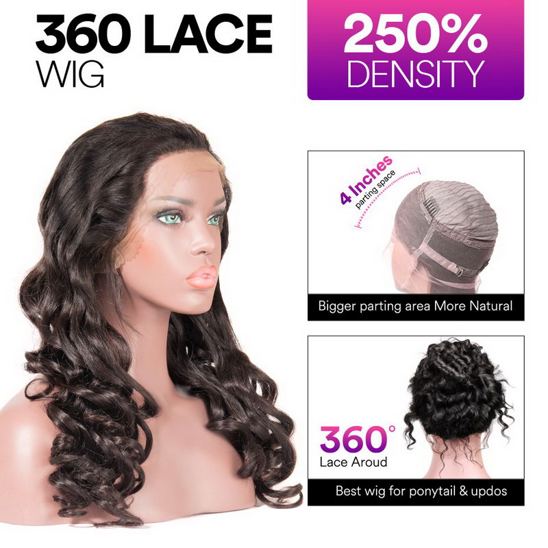 Stema BIg Loose 360 Lace Frontal Wig Pre Plucked With Baby Hair 220% Density Remy Human Hair Wigs