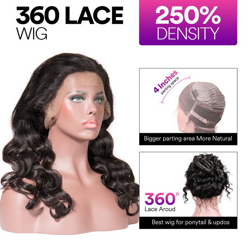 Stema Loose Wave Wave 360 Lace Frontal Wig Pre Plucked With Baby Hair 220% Density Human Hair Wigs
