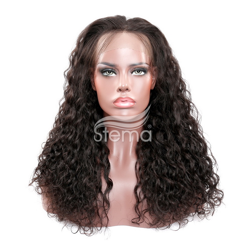 Stema Natural wave curl 360 Lace Frontal Wig Pre Plucked With Baby Hair 220% Density Human Hair Wigs