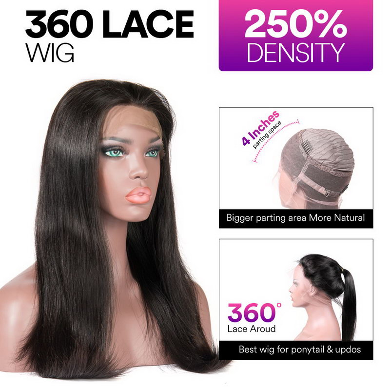Stema Straight 360 Lace Frontal Wig Pre Plucked With Baby Hair 220% Density Human Hair Wigs