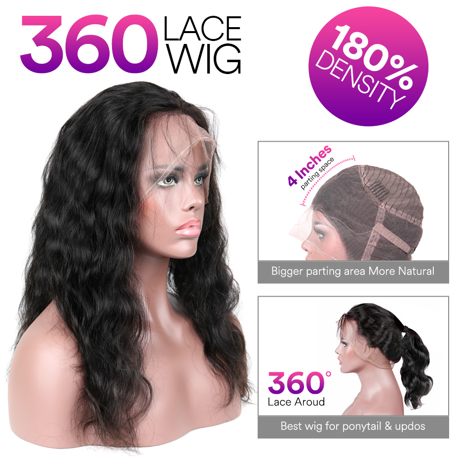 Stema Body Wave 360 Lace Frontal Wig Pre Plucked With Baby Hair 180% Density Human Hair Wig