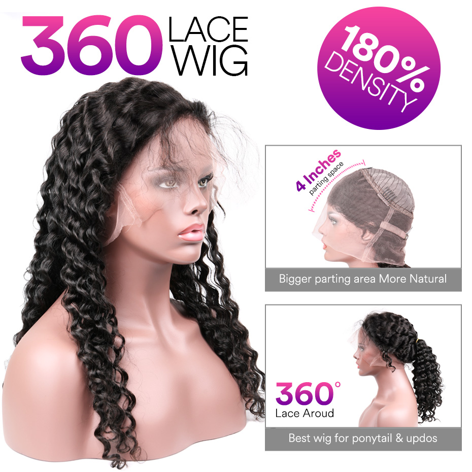 Stema Deep Wave 360 Lace Frontal Wig Pre Plucked With Baby Hair 180% Density Human Hair Wig