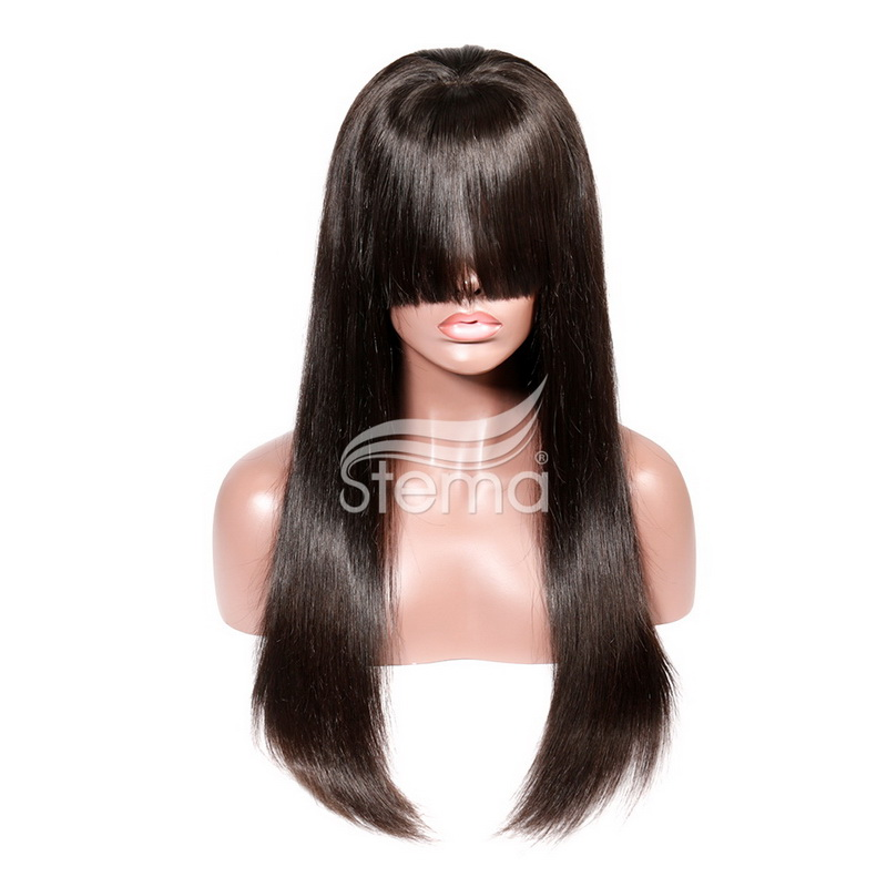 stema straight 360 lace front 1B wig  with bangs Pre Plucked With Baby Hair 250% Density Human Hair Wigs