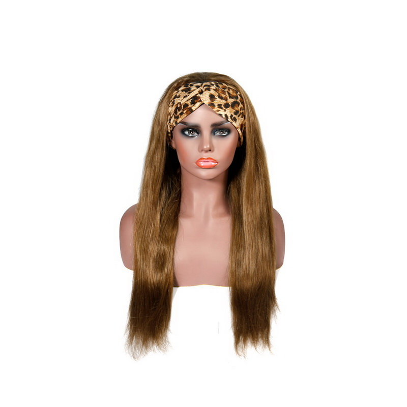 Stema #8 Color Headband Wig Human Hair Straight Wig No PrePlucked Hairline