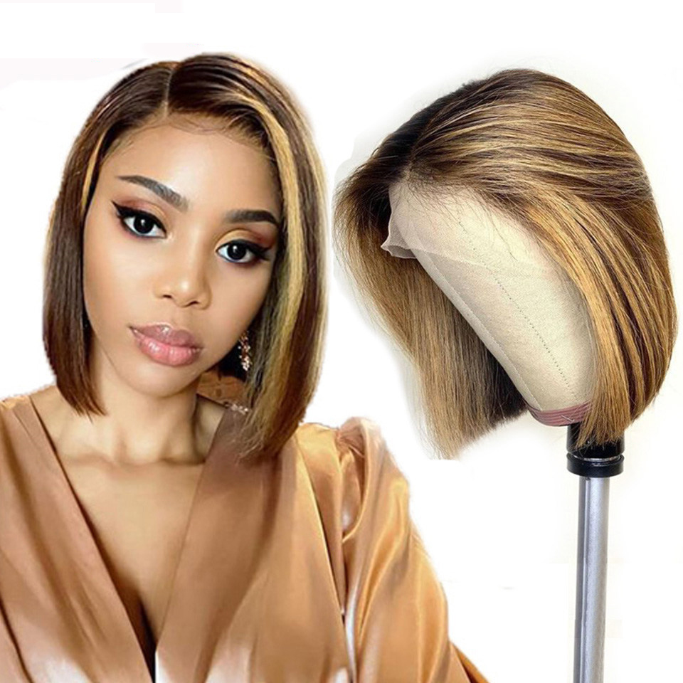Stema Piano Color Highlight #4/27 Straight BOB Lace Front Wig