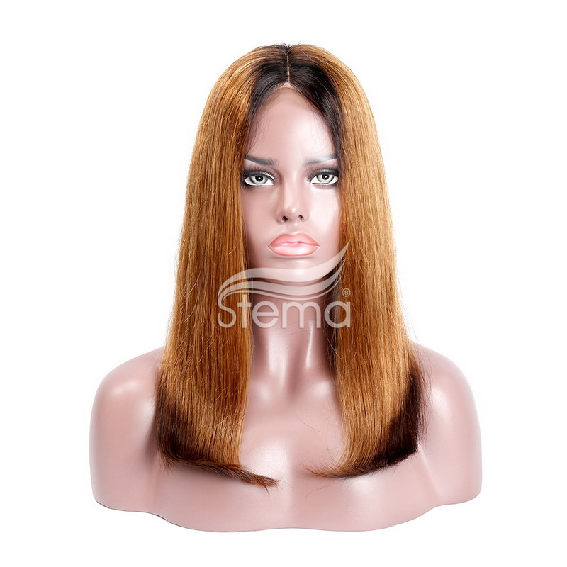 BOB Machine-Made Black Root 1B/30/1B Ombre Honey Blonde Human Hair Straight