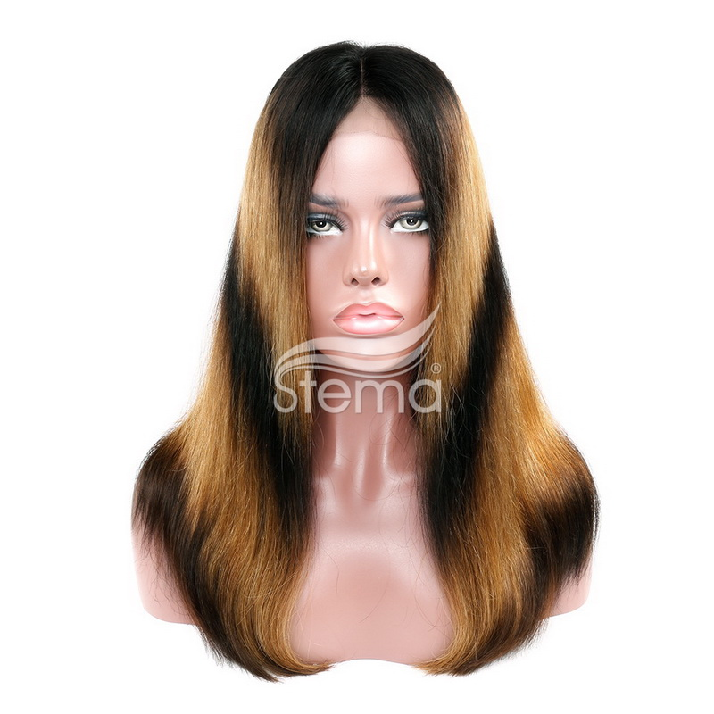 Stema Straight 1b/30 Ombre Closure Wig 150% Density Mix Color Brazilian Remy Human Hair Machine Made Wigs
