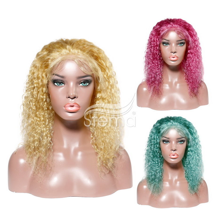 Stema Brazilian Deep Wave Colorful Bob Lace Front Wigs for Black Women Human Hair Wig Middle Part Remy Hair