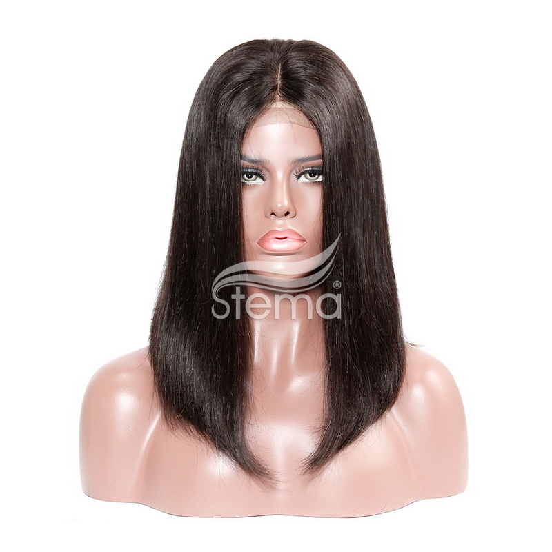 stema Machine-Made Short Bob Lace Closure Wig Natural Black Straight Brazilian Remy Human Hair
