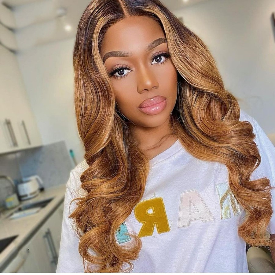 Stema 13X4 Lace Front Piano Color Highlight #4/27 Body Wave Wig