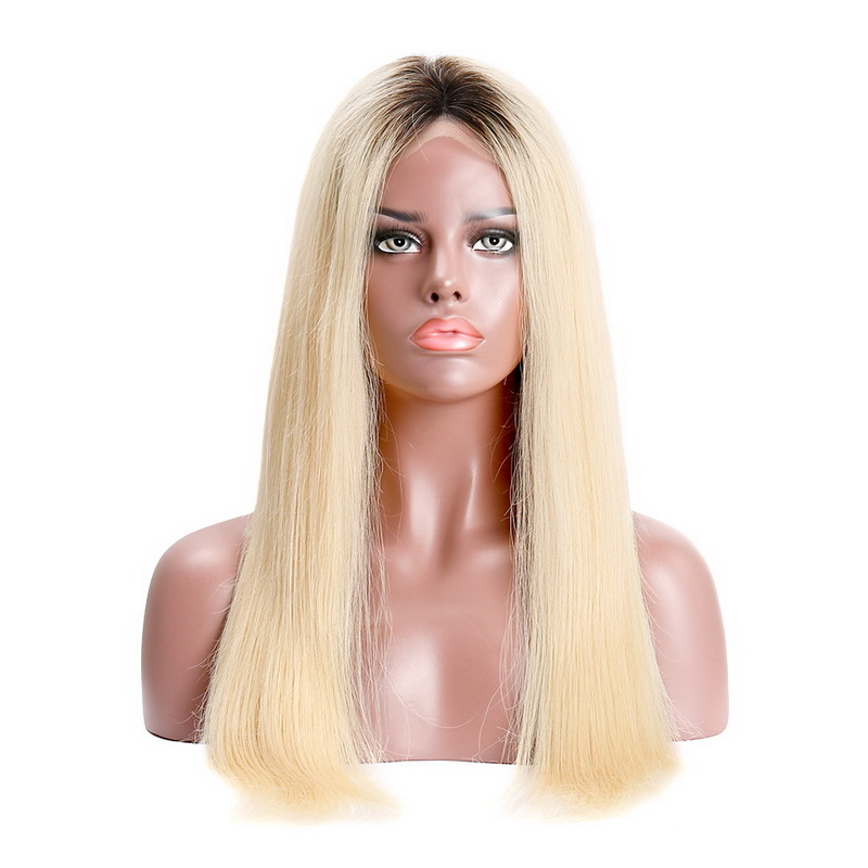 Stema Machine lace closure wig Human Hair Wigs Black Root Ombre #613 Blonde Straight (hair weave with closure)
