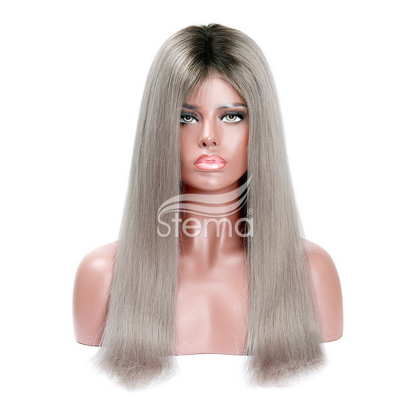 Stema Machine lace closure wig Human Hair Wigs 200% density Ombre Grey hair Fashion Color(hair weave with closure)