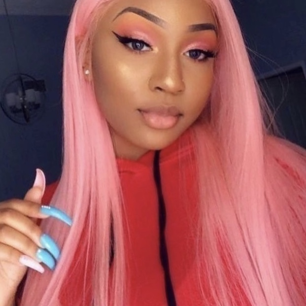 Stema Full Lace Wigs 180% density Straight Lace Wigs Pre Plucked With Baby Hair Pink Brazilian Remy Hair