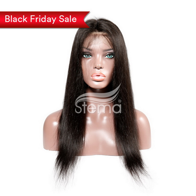 Stema Straight Fake Scalp 13X6 Lace Front Wig Pre Plucked with Baby Hair 180% Density Human Hair